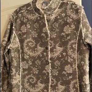 CHICO'S Faux Fur  Jacket Blazer Size 3 XL Damask